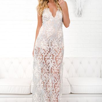 Luxurious Love Sequin Gown (Silver/Ivory)