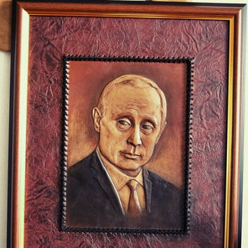 Putin Portrait,3D,leather handmade,wall decor,artwork,Russia,president,Putin,Portrait, for him,leather,contemporary art, wall hanging