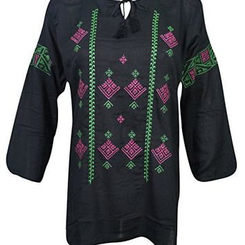 Mogul Womens Peasant Tunic Top Embroidered Bohemian Hippie Blouse Shirt