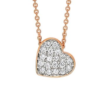 Tiny Diamond Heart Necklace - Rose Gold