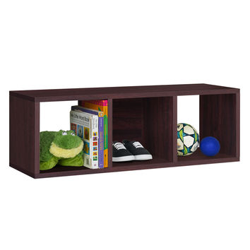 Way Basics 3 Cubby Stackable Storage Bench - Brown