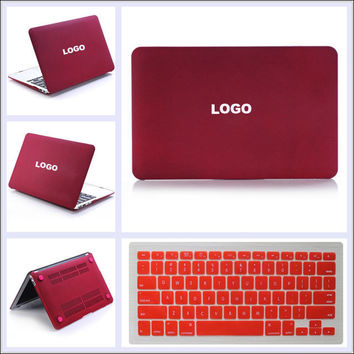 "Wine Red Matte Rubberized Hard Case Shell with Keyboard Cover for MacBook 11"" 12"" 13"" 15"" Air Pro Retina Display"