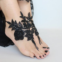 black lace sandals, beach wedding barefoot sandals, beach shoes, belly dance bridesmaid gift, goth lace sandles for wedding, Beach sandles,