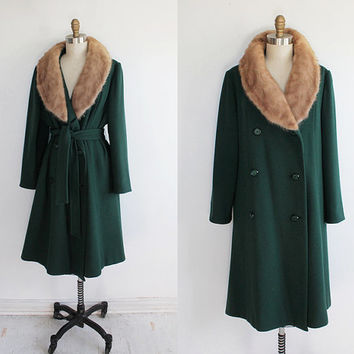 Vintage 60s Green Wool Trench Coat with Large Fox Fur Collar | large 8 10