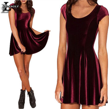 Velvet Mulled Wine Evil Cheerleader 2.0 Women Clothing Party Evening VestidosElegant Velvet Skater Pleated Dresses X-064