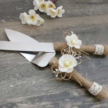 Wedding Cake Server And Knife Rustic Serving Set