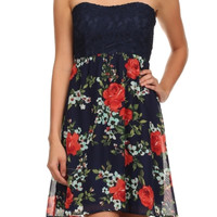 Strapless Floral Lace Dress W/ Back Bow Cutout