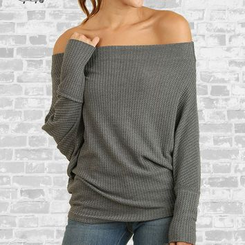 Waffle Knit Off Shoulder Top - Charcoal