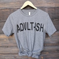 distracted - adult-ish unisex graphic tee - grey