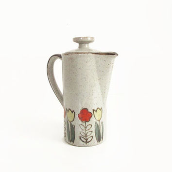 Vintage Stoneware Teapot -- Mid Century Coffee Pot -- Danish Modern Style Ceramic Pottery Pitcher -- Speckled Folk Tea Pot with Flowers