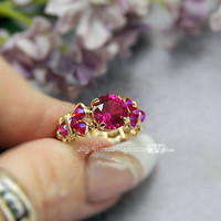 Fuchsia Ruby CZ Handmade Wire Wrapped Ring - Signature Design - Fine Jewelry