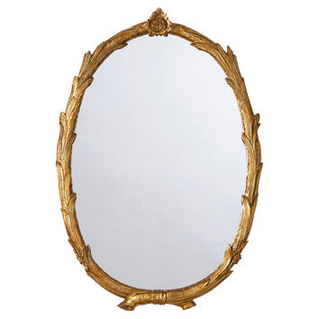 Mirrors, Laurel Wall Mirror, Antiqued Gold, Wall Mirrors
