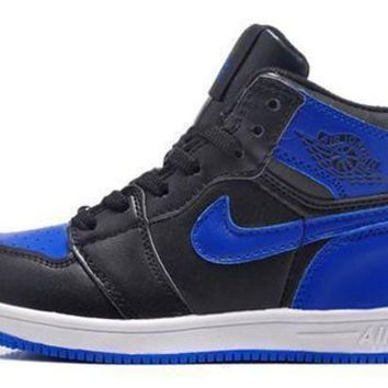 New Air Jordan 1 Retro Kids Shoes Black Blue White Hot Sale