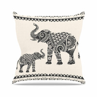 "Famenxt ""Ornate Indian Elephant-Boho"" Black Beige Throw Pillow"