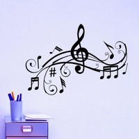 Vinyl Wall Decals Music Note Notes Waves Musical Sign Treble Clef Decal Sticker Home Decor Art Mural Z667
