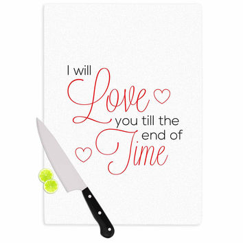 "NL Designs ""I Will Love You"" White Red Cutting Board"