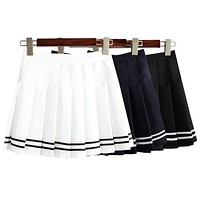 2017 Women'S Kawaii Vintage AA High Waist Pleated Skirt Female Japanese Harajuku British Preppy Style Cute Skirts For Women
