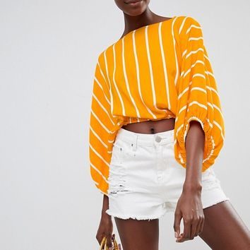ASOS DESIGN Batwing Top In Yellow Stripe at asos.com