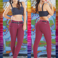 Medium Rise Burgundy Tabbachi Jeans 7175