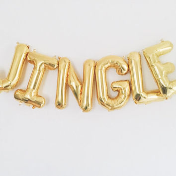 JINGLE balloon banner gold foil mylar  letter balloons garland with tassels