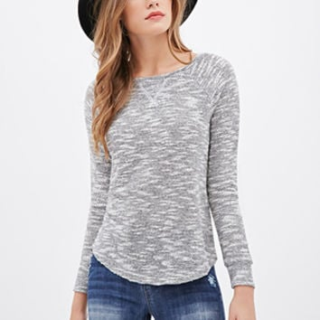 LOVE 21 Sparkling Marled Knit Sweater Ivory/Black