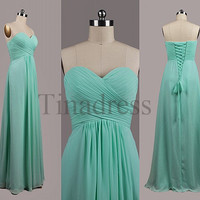 Custom Mint Bridesmaid Dresses 2014 Fashion Prom Dresses Wedding Party Dress Formal Party Dress Evening Gowns Homecoming Dresses