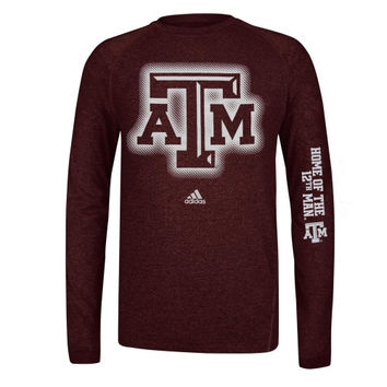 adidas Texas A&M Aggies Sideline Elude Performance Long Sleeve T-Shirt - Maroon