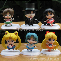 Q Version Sailor Moon Mars Mercury Jupiter Venus Action Figure PVC Collection figures toys for christmas gift brinquedos