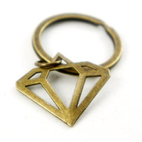 Diamond - Antiqued Brass Vintage Style Key Ring - CP048