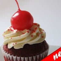 RED CHERRY candle  Cupcake / Birthday Cake Topper   by kokocandles