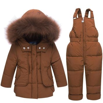 Solid Fur Hooded Down Coat and Overalls