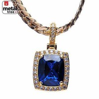 Jewelry Kay style Men's Blue Ruby Square CZ Iced Pendant Miami Cuban Chain Necklace MBP 572 BL