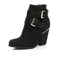 River Island Womens Black leather cut out buckle ankle boots