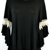 Miss Bubbles Soft Top-Bell Sleeve Crochet Inset-Plus-Black