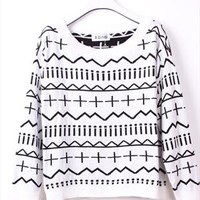 Cross and Wave Knitted Top for Women White from topsales