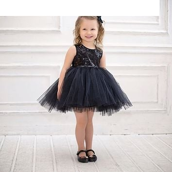 ARLONEET Black Sequins Baby Girl Kids Net Poncho Patchwork O-Neck Sleeveless Dress Casual Sundress Bubble Dresses Infantil H30