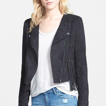 Women's Love Fate Destiny Faux Suede Moto Jacket with Fringe