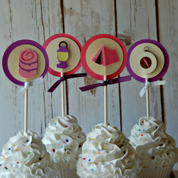 Glamping Theme Birthday Party Cupcake Toppers (set of 12)