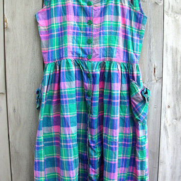 Vintage dress - plus-size Easter-egg madras plaid sundress