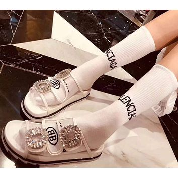 Balenciaga Cotton Women Long Socks Stockings