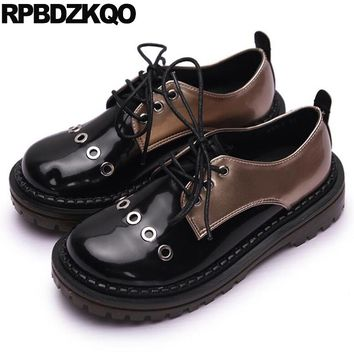 Thick Sole Slip Resistant Metal Flats Women Round Toe Vintage Oxfords Shoes Patent Leather Black Platform Harajuku Lace Up