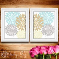 Printable wall art decor: Flower burst set of 2 - abstract chrysanthemum blue gray cream brown floral (Instant digital download - JPG)