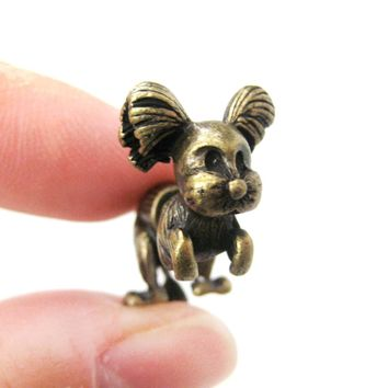 Fake Gauge Earrings: Puppy Dog Shaped Faux Plug Stud Earrings in Brass