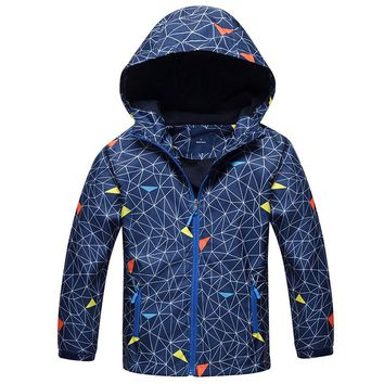 2018 Autumn Boys Jacket Fleece Girls Windbreaker Jackets Coats Kids Outerwear Sporty Hoodie Clothes Double-deck Waterproof