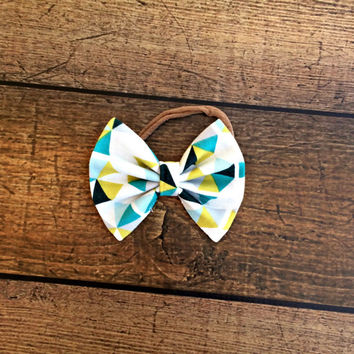 organic geometric bow, baby bows, baby headband, newborn headband, baby girl bow headbands, baby bow set, hair bows, organic cotton baby bow