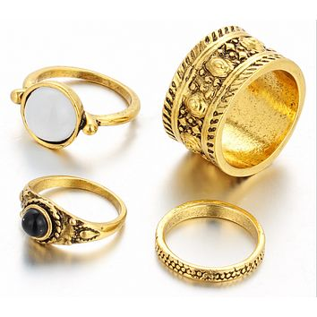 Exaggerated gem ring tail ring ring ring ring retro carved 4 sets
