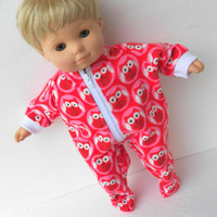 "American Girl Bitty Baby Clothes 15"" Doll Clothes Red Pink Owl Print Flannel Zip Up Feetie Pajamas Pjs Sleeper"