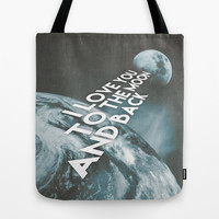 I love you to the moon and back Tote Bag by Cafelab