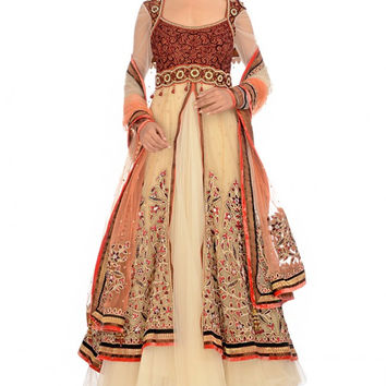 Ivory and orange bridal anarkali