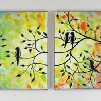 Large Abstract Love Birds in Tree Painting Contemporary Modern Silhouette Acrylic on Canvas Diptych 18x48 JMichael